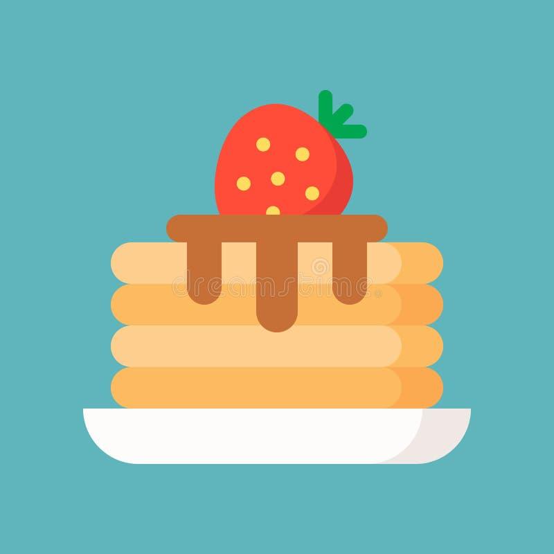 Pannkaka med sirap och jordgubben, enkel symbol i plan stil, lodisar vektor illustrationer