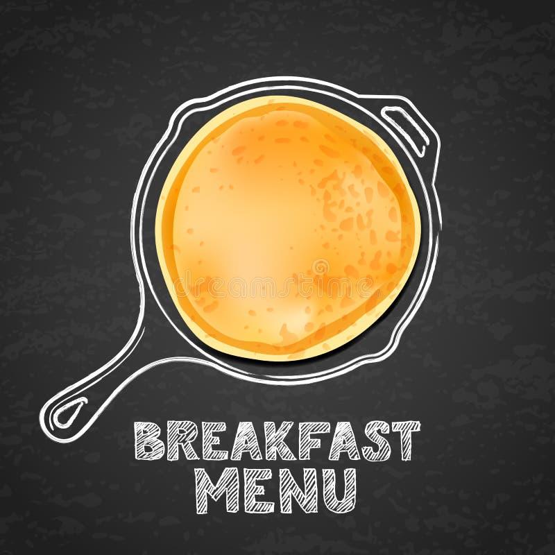 Pannkakan och handen drog översiktsvattenfärgpannan, på svart bräde kritiserar bakgrund Vektordesign för frukostefterrättmeny royaltyfri illustrationer