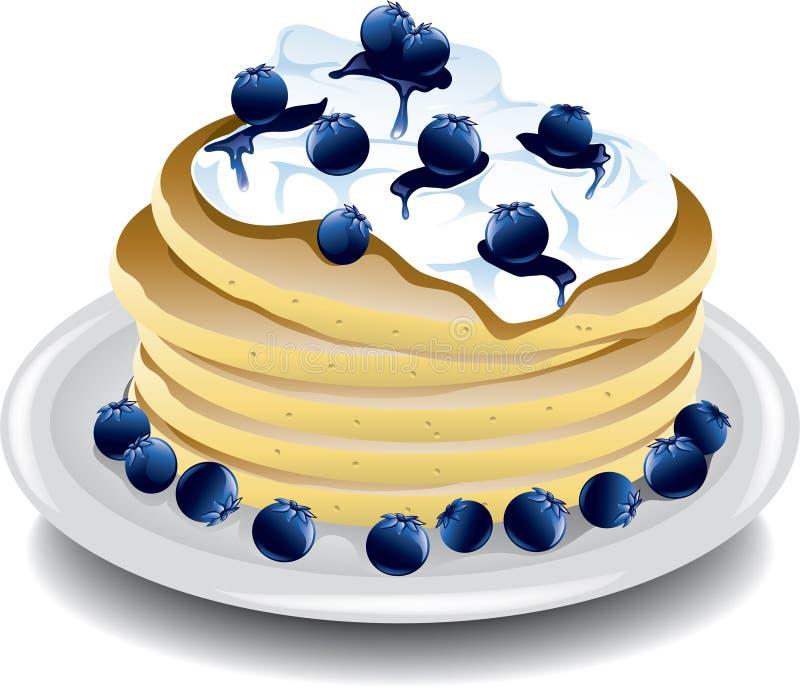 Pannkakor med blåbär royaltyfri illustrationer
