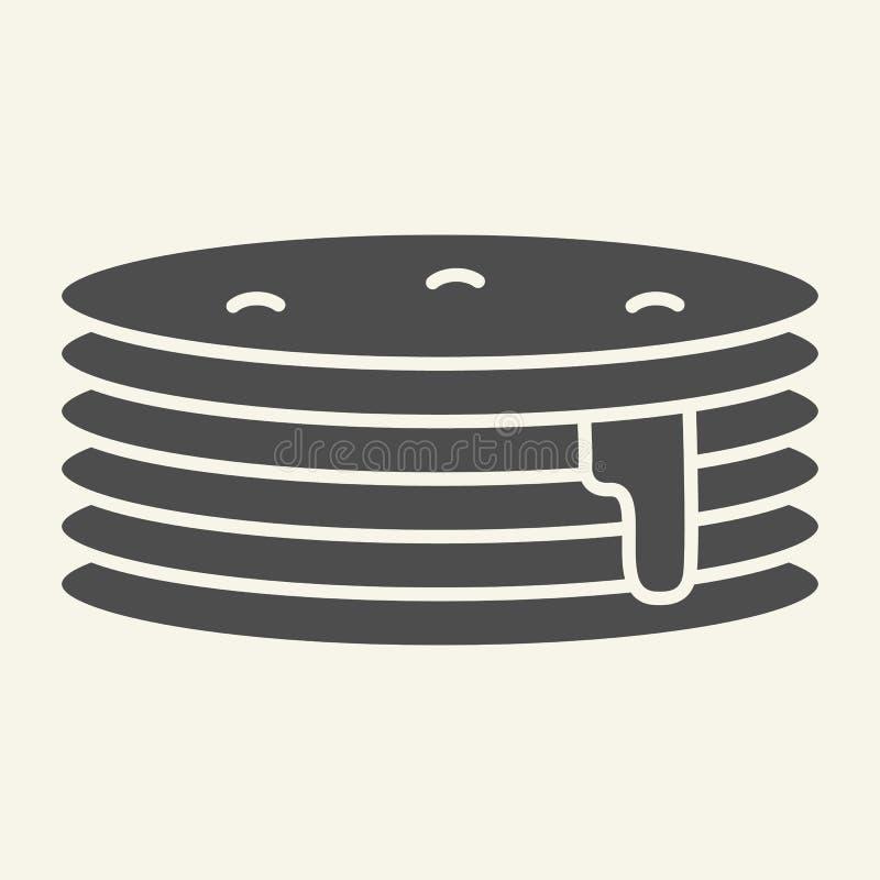 Pannkakor med den fasta symbolen för sirap Frukostvektorillustration som isoleras på vit Söt design för frunchskårastil royaltyfri illustrationer