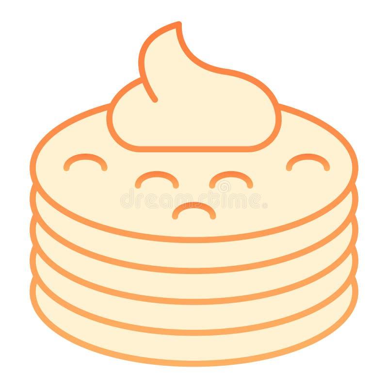 Pannkakor med den plana symbolen för sirap Pannkakor med orange symboler för smör i moderiktig plan stil Design för frukostlutnin stock illustrationer