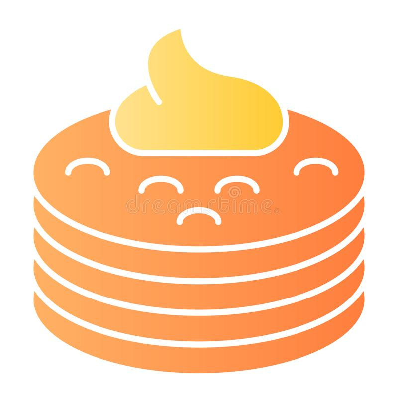 Pannkakor med den plana symbolen för sirap Pannkakor med smörfärgsymboler i moderiktig plan stil Design för frukostlutningstil stock illustrationer