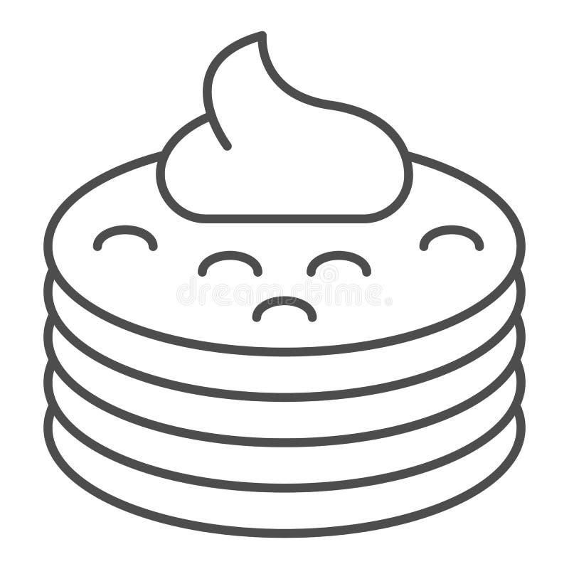 Pannkakor med den tunna linjen symbol f?r sirap Pannkakor med smörvektorillustrationen som isoleras på vit Frukost?versiktsstil stock illustrationer