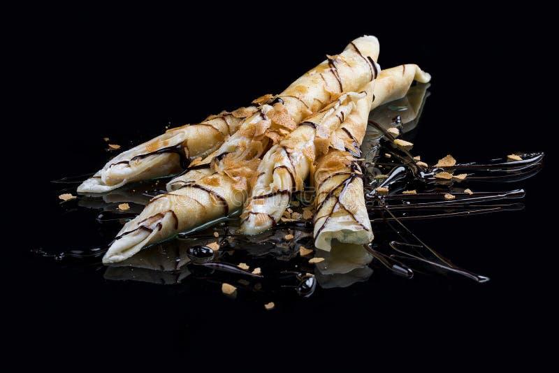 Pannkakor med italiensk ostkr?m arkivfoto
