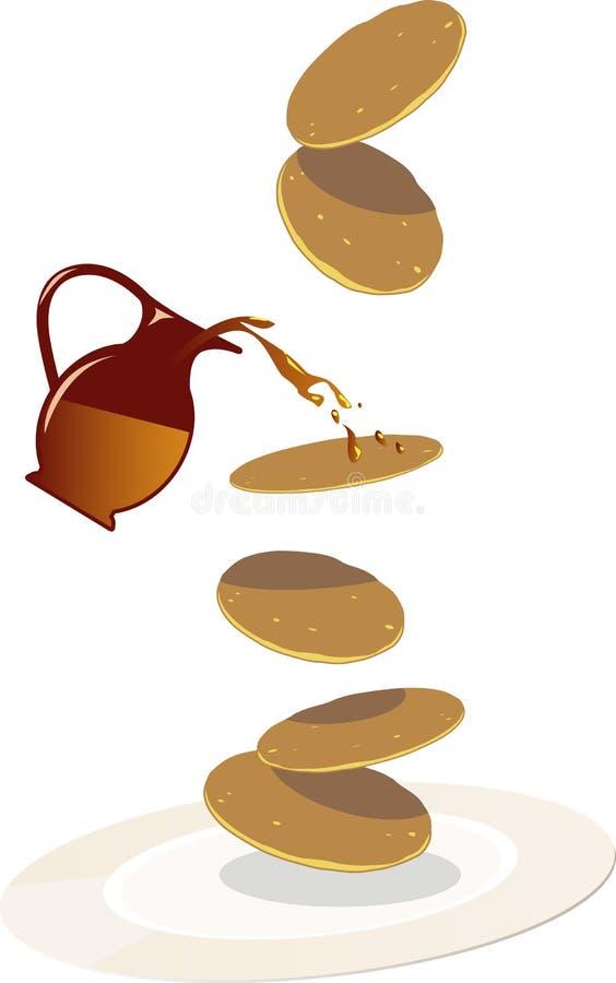 Pannkakor med sirap stock illustrationer