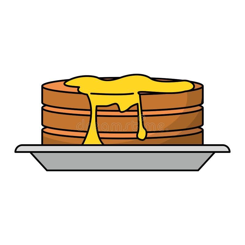 Pannkakor med sirap p? matr?tt royaltyfri illustrationer