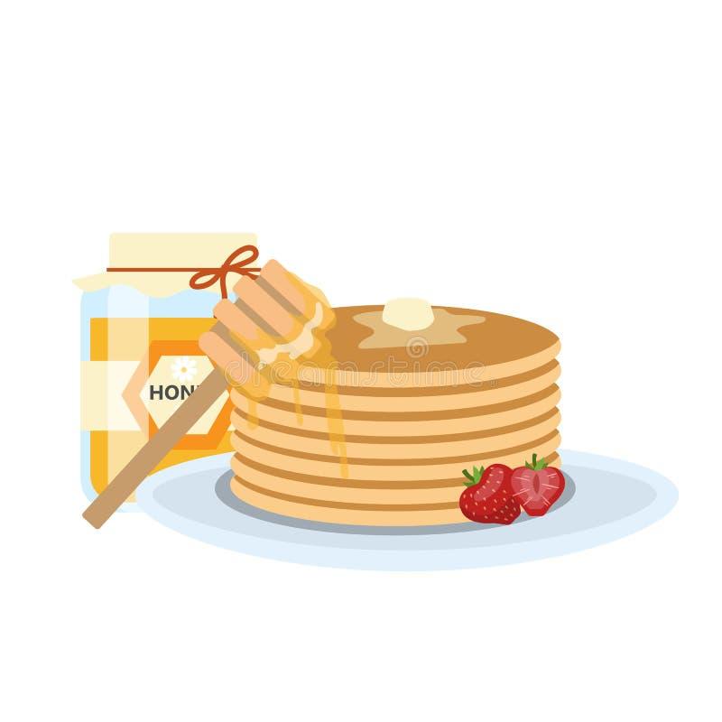 Pannkakor med smör, honung och jordgubbar stock illustrationer