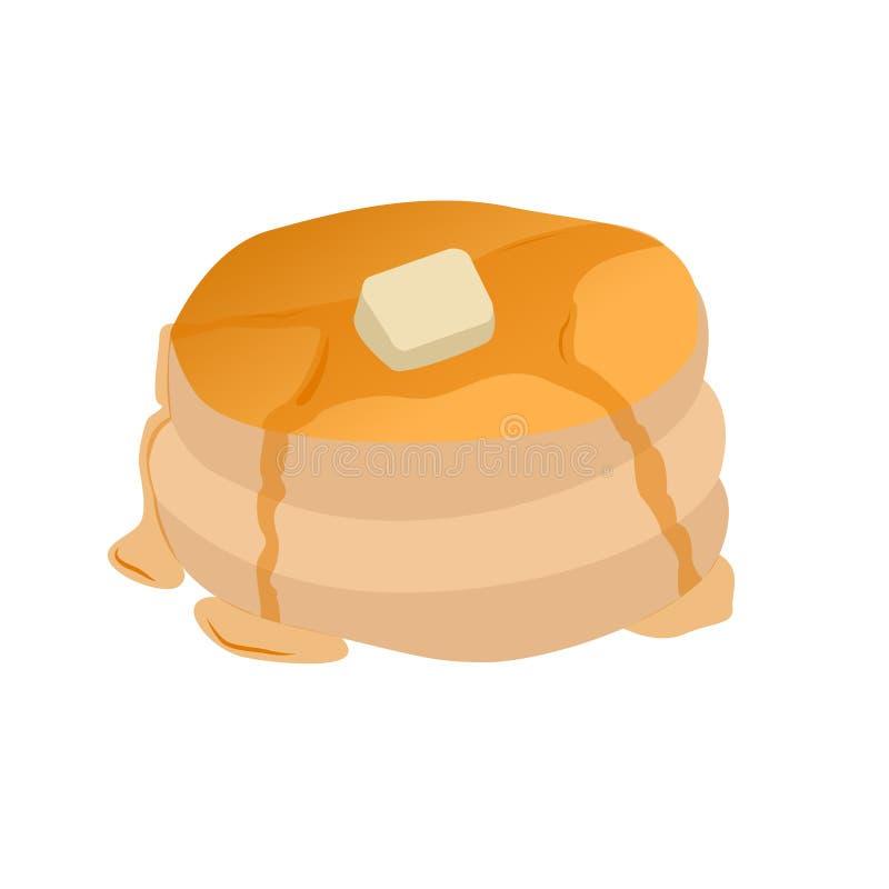 Pannkakor med sm?r och sirap vektor illustrationer