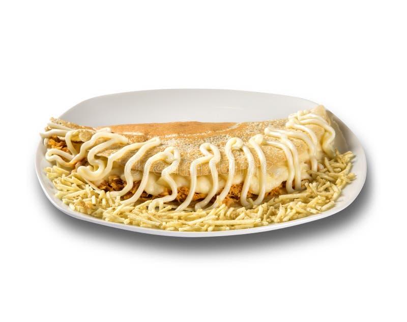 Pannkakor välfyllt fegt bröst och ost Grunt djup-av-fält Bli grund djup-av-fie royaltyfri bild
