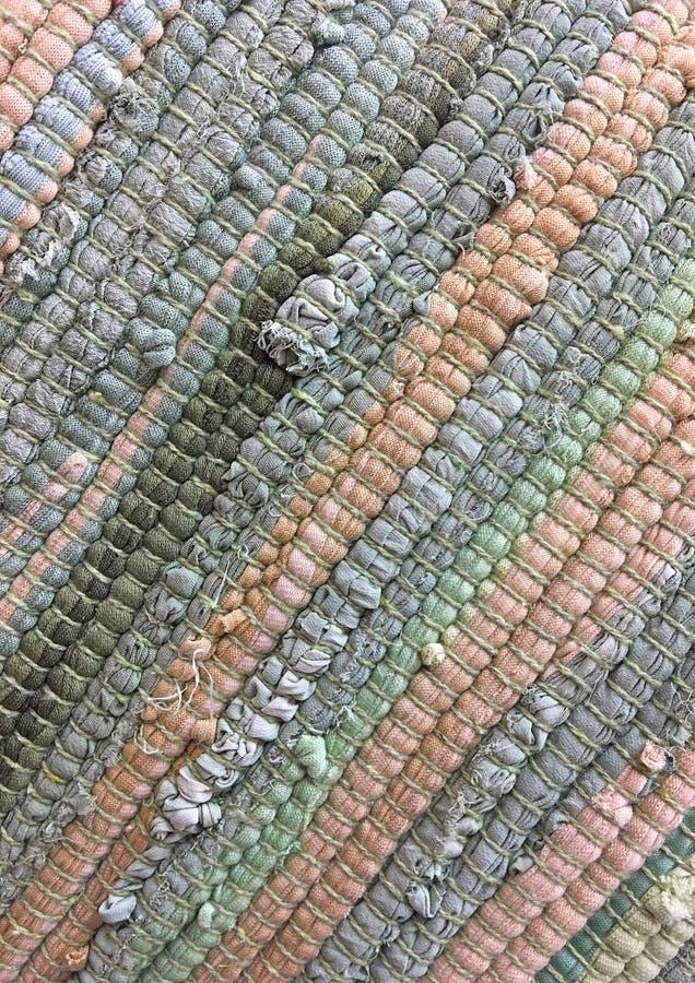Panno cucito dalle strisce di tessuto Cucito, riutilizzazione dei materiali Priorità bassa della tessile fotografie stock