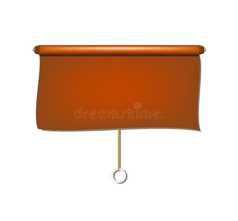 Panno d'annata dei ciechi del sole della finestra nella progettazione marrone illustrazione di stock