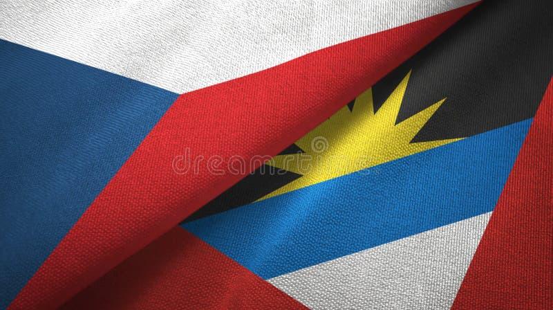 Panno del tessuto delle bandiere dell'Antigua e Barbuda e della repubblica Ceca due, struttura del tessuto illustrazione di stock