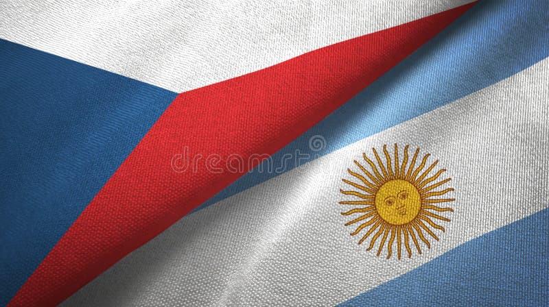 Panno del tessuto delle bandiere dell'Argentina e della repubblica Ceca due, struttura del tessuto illustrazione di stock