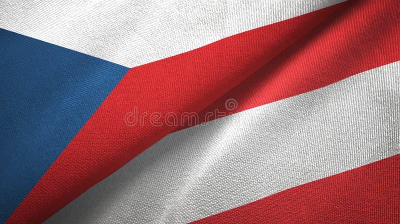 Panno del tessuto delle bandiere dell'Austria e della repubblica Ceca due, struttura del tessuto illustrazione di stock