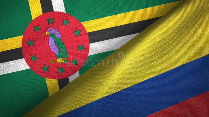 Panno del tessuto delle bandiere della Colombia e della Dominica due, struttura del tessuto immagine stock libera da diritti