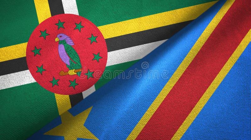 Panno del tessuto delle bandiere della repubblica democratica due del Congo e della Dominica fotografie stock