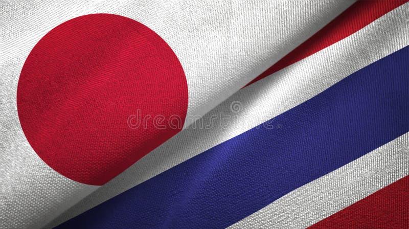 Panno del tessuto delle bandiere della Tailandia e del Giappone due, struttura del tessuto illustrazione vettoriale
