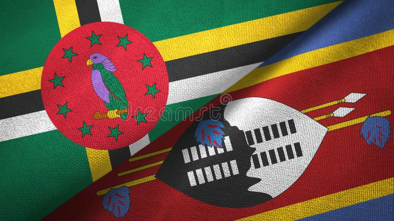 Panno del tessuto delle bandiere di Eswatini e della Dominica Swaziland due fotografie stock