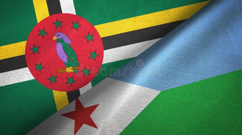 Panno del tessuto delle bandiere di Gibuti e della Dominica due, struttura del tessuto immagine stock