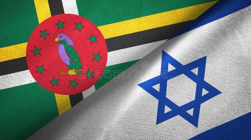 Panno del tessuto delle bandiere di Israele e della Dominica due, struttura del tessuto fotografia stock libera da diritti