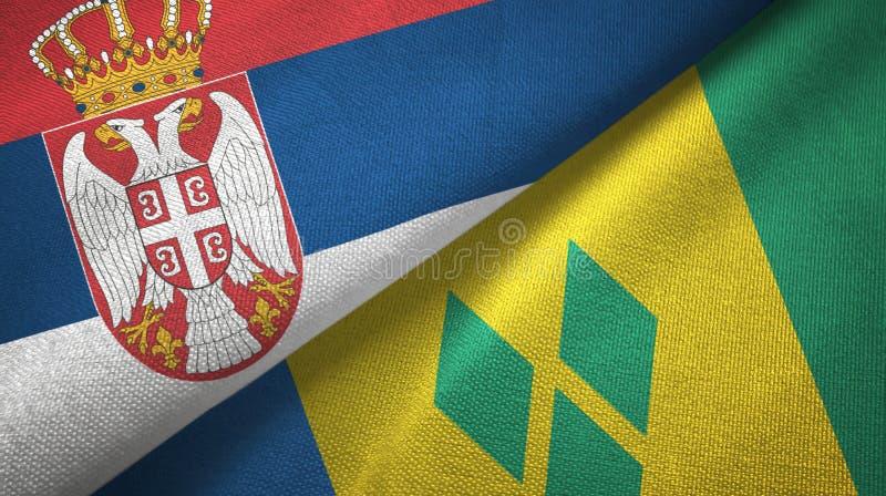 Panno del tessuto delle bandiere di Saint Vincent e Grenadine e della Serbia due illustrazione vettoriale