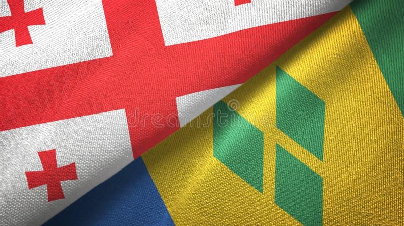 Panno del tessuto delle bandiere di Saint Vincent e Grenadine e di Georgia due illustrazione di stock