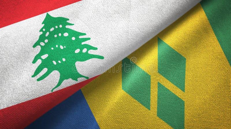 Panno del tessuto delle bandiere di Saint Vincent e Grenadine e del Libano due illustrazione di stock