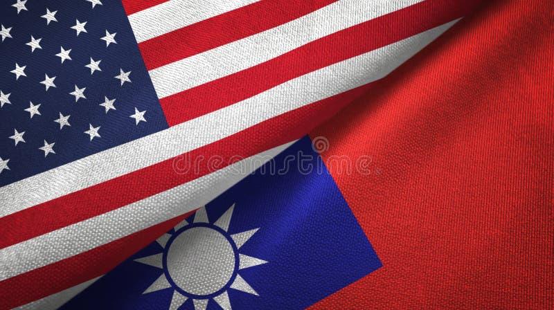Panno del tessuto delle bandiere di Taiwan e degli Stati Uniti due, struttura del tessuto illustrazione di stock
