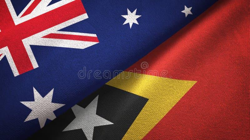 Panno del tessuto delle bandiere di Timor-Est e dell'Australia Timor orientale due, struttura del tessuto royalty illustrazione gratis