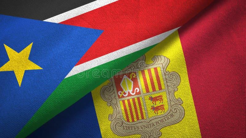 Panno del tessuto delle bandiere del sud dell'Andorra e del Sudan due, struttura del tessuto fotografie stock