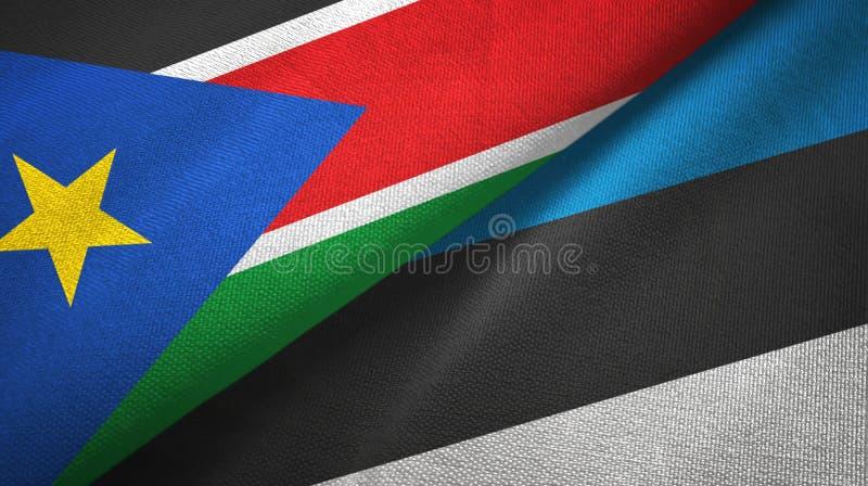 Panno del tessuto delle bandiere del sud dell'Estonia e del Sudan due, struttura del tessuto fotografia stock