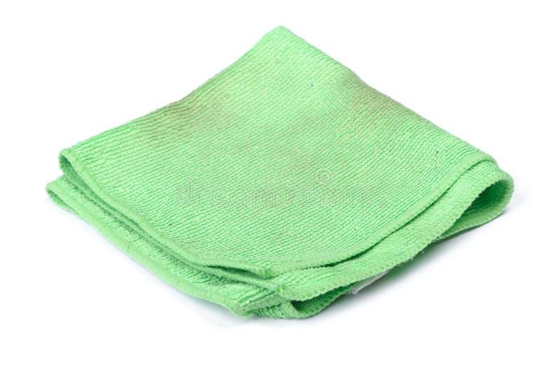 Panno verde piegato del microfiber fotografie stock