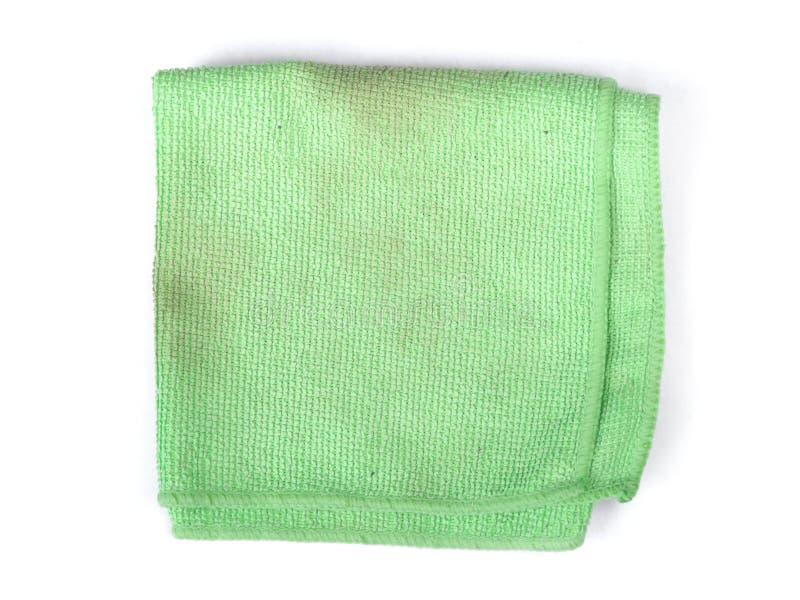 Panno verde piegato del microfiber fotografia stock