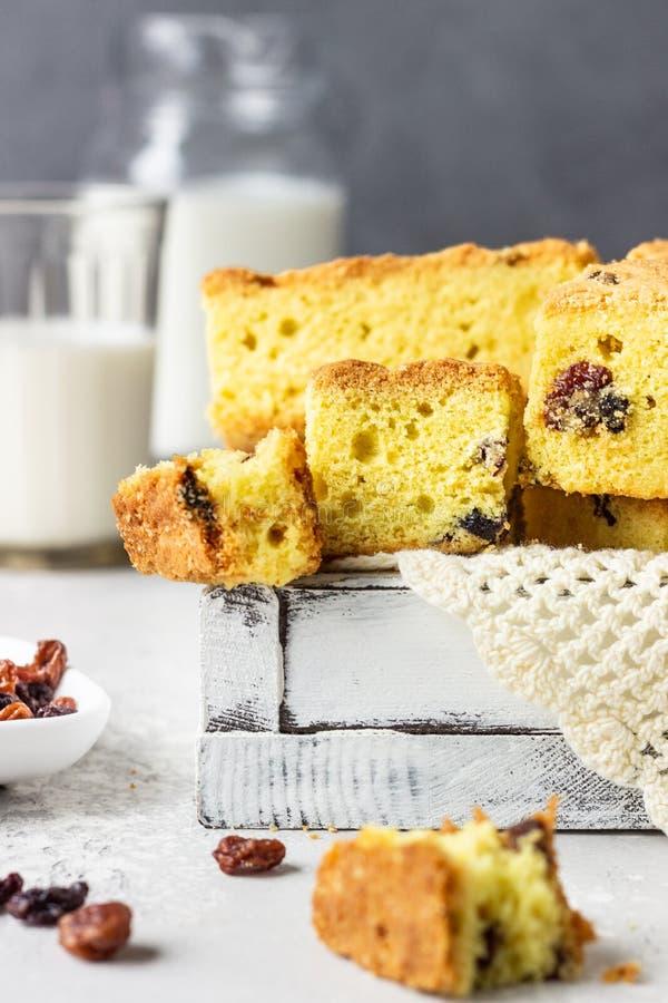 Pannocchia di torta fatta in casa con uvetta Torta fotografie stock libere da diritti