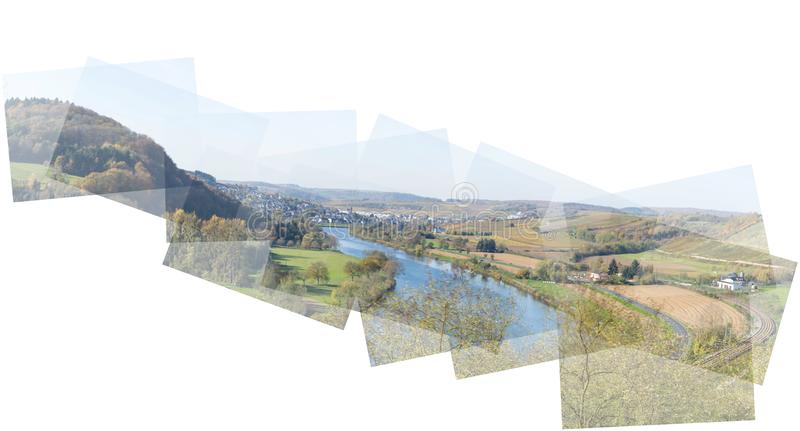 Pannografie pannorama of the river Mosel. With view to Wasserbillig in Luxembourg stock photography