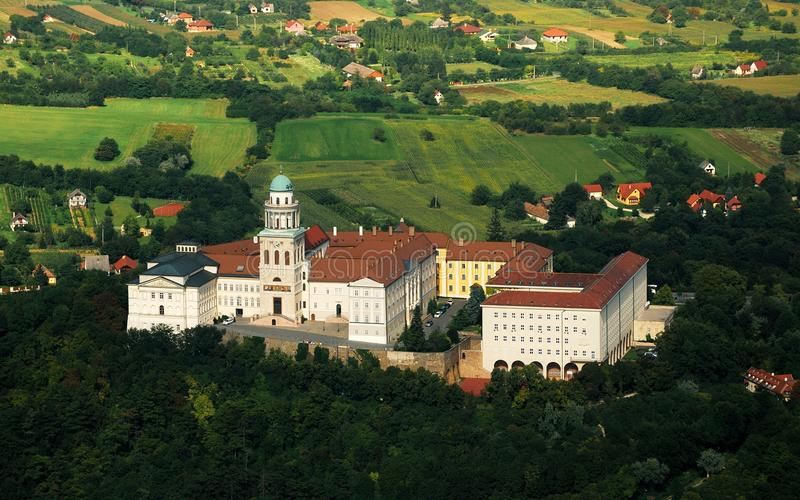 Pannonhalma Abbey aerial view, Hungary. The Benedictine Pannonhalma Archabbey or Territorial Abbey of Pannonhalma is the most notable landmark in Pannonhalma and stock photography