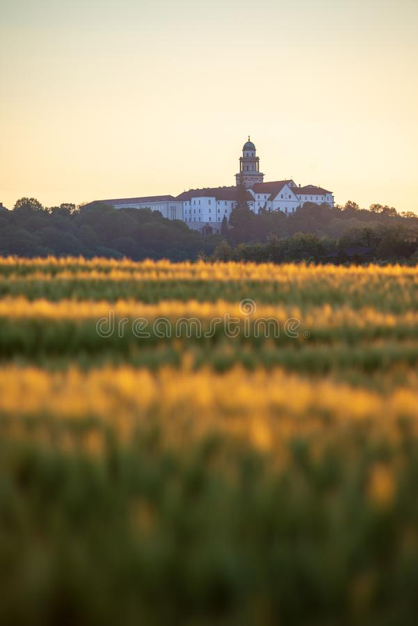 Pannonhalma Archabbey with golden wheat field on sunset. Time in summer royalty free stock image