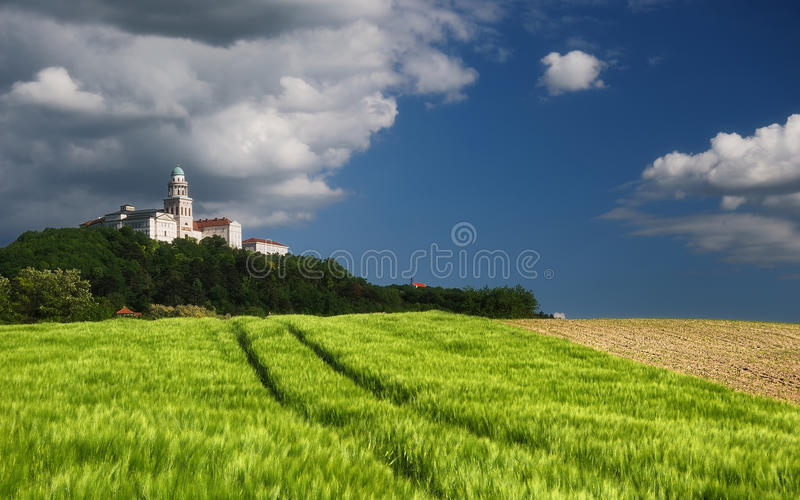 Pannonhalma Archabbey, Hungary. The Benedictine Pannonhalma Archabbey or Territorial Abbey of Pannonhalma is the most notable landmark in Pannonhalma and one of stock photos