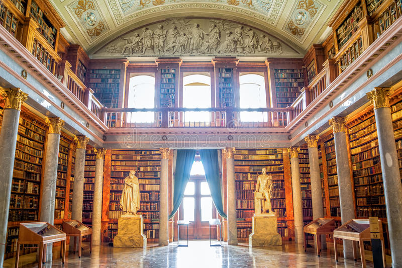 Pannonhalma library interior in Hungary. Pannonhalma, Hungary - June 27, 2016: Pannonhalma Abbey library interior in Hungary. UNESCO's World Heritage Site royalty free stock photos