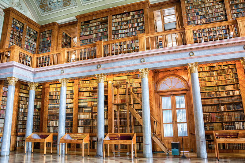 Pannonhalma library interior in Hungary. Pannonhalma, Hungary - June 27, 2016: Pannonhalma Abbey library interior in Hungary. UNESCO's World Heritage Site royalty free stock photo