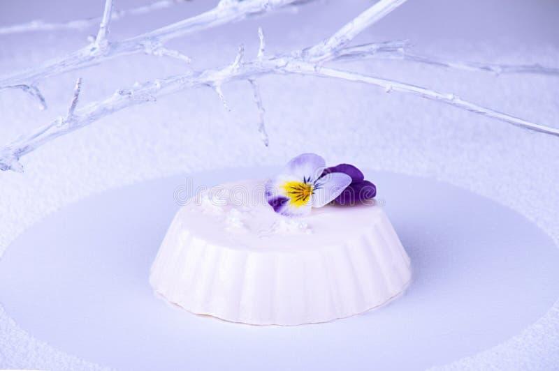 Panny cotta biały cocolate i wipped śmietanka dekorujący z jadalnym fiołkowym kwiatem na białym tle z biel gałąź obrazy royalty free