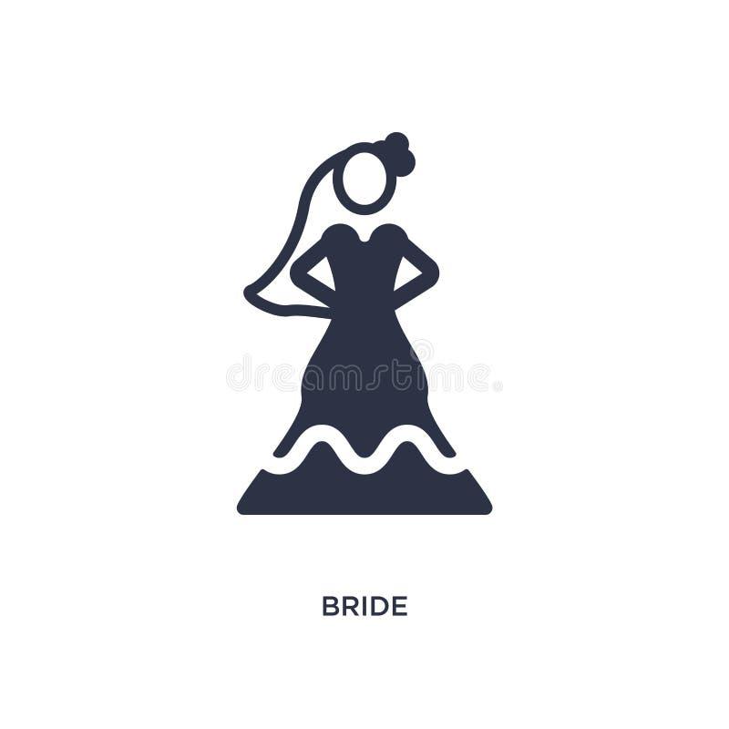 panny młodej ikona na białym tle Prosta element ilustracja od miłości & ślubu pojęcia ilustracja wektor