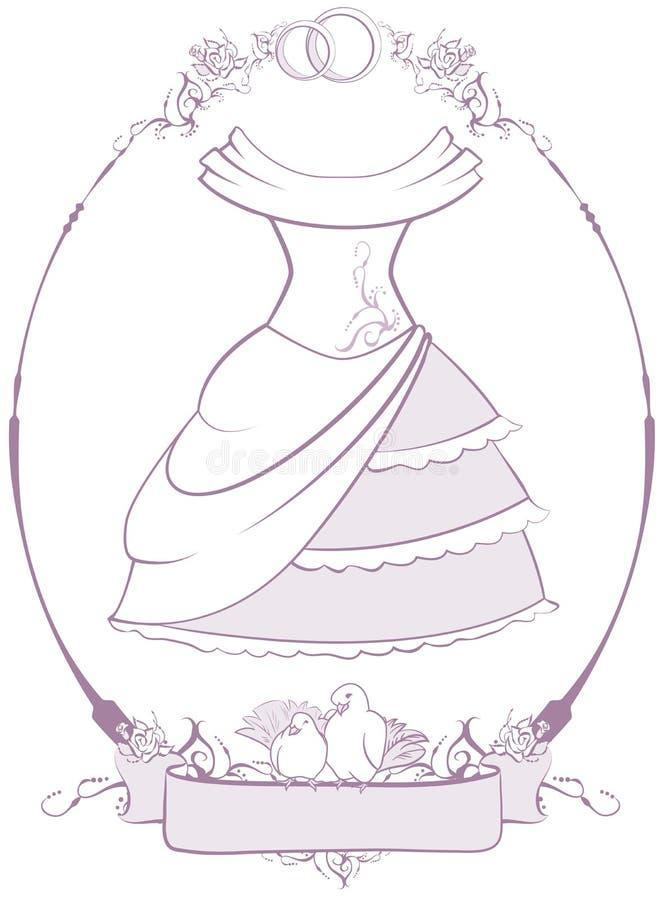 Panny młodej ślubna suknia w ramie ilustracja wektor