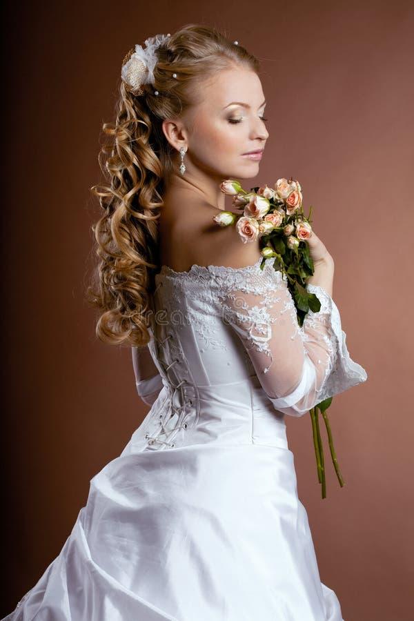 panny młodej fryzury luksusu ślub obraz royalty free