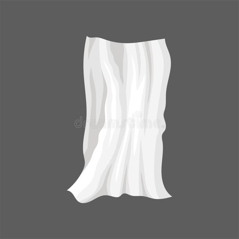 Pano branco do cetim Drapeje com dobras onduladas Folha de cama de seda Elemento liso do vetor para anunciar o cartaz ou a bandei ilustração stock