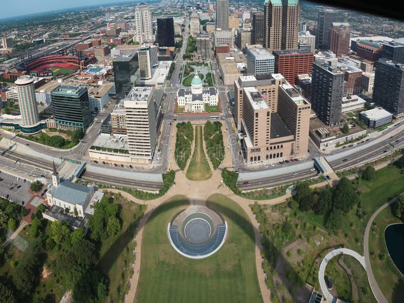 Pano centrala St Louis ovanifrån arkivbild