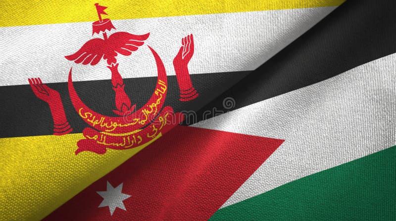 Pano de mat?ria t?xtil das bandeiras de Brunei Darussalam e de Jord?nia dois, textura da tela foto de stock