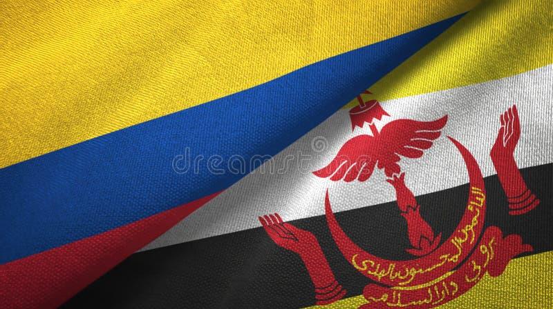Pano de matéria têxtil das bandeiras de Colômbia e de Brunei Darussalam dois ilustração do vetor