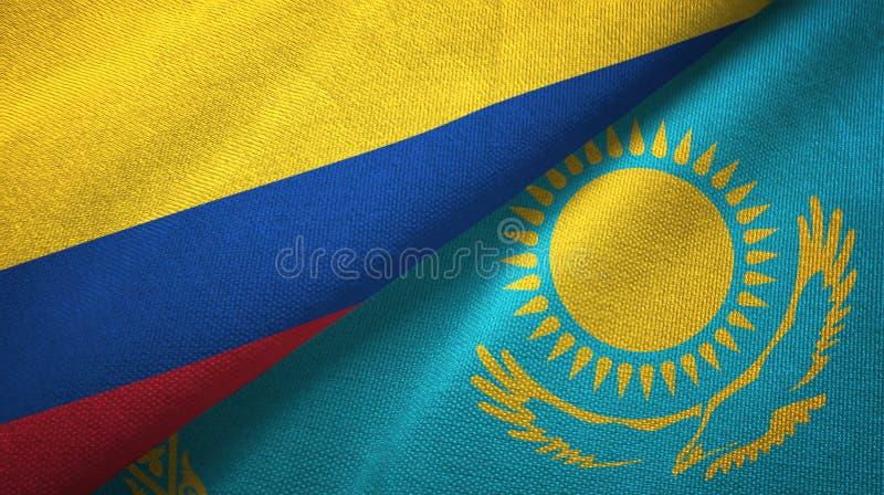 Pano de matéria têxtil das bandeiras de Colômbia e de Cazaquistão dois, textura da tela ilustração do vetor