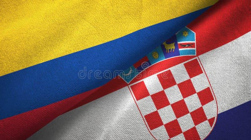 Pano de matéria têxtil das bandeiras de Colômbia e de Croácia dois, textura da tela ilustração royalty free